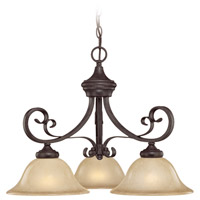 Stanton 3 Light 24 inch English Toffee Chandelier Ceiling Light in Tea-Stained Glass