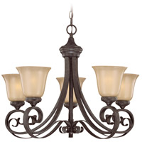Craftmade 25125-ET Stanton 5 Light 27 inch English Toffee Chandelier Ceiling Light in Tea-Stained Glass