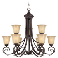Craftmade 25129-ET Stanton 9 Light 34 inch English Toffee Chandelier Ceiling Light in Tea-Stained Glass