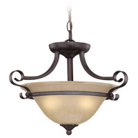 Craftmade 25133-ET Stanton 2 Light 17 inch English Toffee Semi-Flushmount Ceiling Light in Tea-Stained Glass, Convertible to Pendant