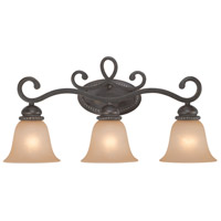 Highland Place 3 Light 26 inch Mocha Bronze Vanity Light Wall Light in Light Umber Etched