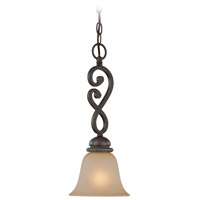Craftmade 25221-MB Highland Place 1 Light 7 inch Mocha Bronze Mini Pendant Ceiling Light in Light Umber Etched