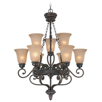 Craftmade 25229-MB Highland Place 9 Light 32 inch Mocha Bronze Chandelier Ceiling Light in Light Umber Etched