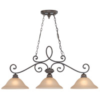 Craftmade 25233-MB Highland Place 3 Light 46 inch Mocha Bronze Island Light Ceiling Light in Light Umber Etched