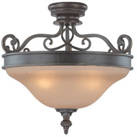 Highland Place 3 Light 21 inch Mocha Bronze Semi Flush Mount Ceiling Light in Light Umber Etched