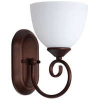 Raleigh 1 Light 7 inch Old Bronze Wall Sconce Wall Light in White Frosted Glass, Jeremiah