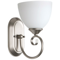 Raleigh 1 Light 7 inch Satin Nickel Wall Sconce Wall Light in White Frosted Glass, Jeremiah