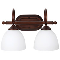 Raleigh 2 Light 15 inch Old Bronze Vanity Light Wall Light in White Frosted Glass, Jeremiah