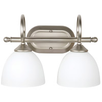 Raleigh 2 Light 15 inch Satin Nickel Vanity Light Wall Light in White Frosted Glass, Jeremiah