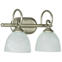 Craftmade 25302-SN Raleigh 2 Light 15 inch Satin Nickel Vanity Light Wall Light in Faux Alabaster Glass