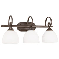 Raleigh 3 Light 23 inch Old Bronze Vanity Light Wall Light in White Frosted Glass, Jeremiah