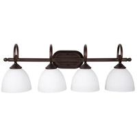 Raleigh 4 Light 31 inch Old Bronze Vanity Light Wall Light in White Frosted Glass, Jeremiah