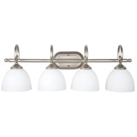 Craftmade 25304-SN-WG Raleigh 4 Light 31 inch Satin Nickel Vanity Light Wall Light in White Frosted Glass Jeremiah