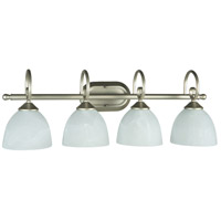 Craftmade 25304-SN Raleigh 4 Light 31 inch Satin Nickel Vanity Light Wall Light in Faux Alabaster Glass