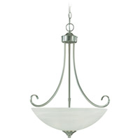 Craftmade 25323-SN Raleigh 3 Light 20 inch Satin Nickel Inverted Pendant Ceiling Light in Faux Alabaster Glass