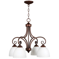 Raleigh 4 Light 23 inch Old Bronze Chandelier Ceiling Light in White Frosted Glass, Jeremiah
