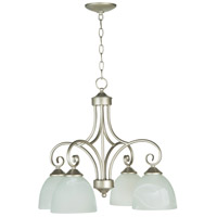 Raleigh 4 Light 23 inch Satin Nickel Down Chandelier Ceiling Light in Faux Alabaster Glass