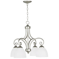 Craftmade 25324-SN-WG Raleigh 4 Light 23 inch Satin Nickel Down Chandelier Ceiling Light in White Frosted Glass, Jeremiah