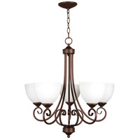 Raleigh 5 Light 24 inch Old Bronze Chandelier Ceiling Light in White Frosted Glass, Jeremiah