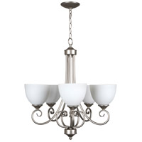 Raleigh 5 Light 24 inch Satin Nickel Chandelier Ceiling Light in White Frosted Glass, Jeremiah