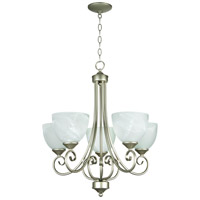 Craftmade 25325-SN Raleigh 5 Light 24 inch Satin Nickel Chandelier Ceiling Light in Faux Alabaster Glass