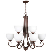 Raleigh 9 Light 31 inch Old Bronze Chandelier Ceiling Light in White Frosted Glass, Jeremiah