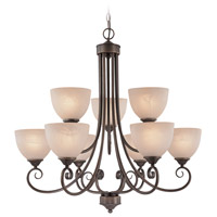 Raleigh 9 Light 31 inch Old Bronze Chandelier Ceiling Light in Warm Alabaster