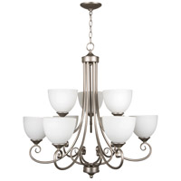Raleigh 9 Light 31 inch Satin Nickel Chandelier Ceiling Light in White Frosted Glass, Jeremiah