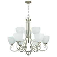 Raleigh 9 Light 31 inch Satin Nickel Chandelier Ceiling Light in Faux Alabaster Glass