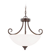 Craftmade 25333-OB-WG Raleigh 3 Light 19 inch Old Bronze Semi Flush Mount Ceiling Light in White Frosted Glass Convertible to Pendant