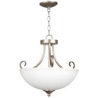 Craftmade 25333-SN-WG Raleigh 3 Light 19 inch Satin Nickel Semi-Flushmount Ceiling Light in White Frosted Glass, Convertible to Pendant
