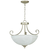 Craftmade 25333-SN Raleigh 3 Light 19 inch Satin Nickel Semi-Flushmount Ceiling Light in Faux Alabaster Glass, Convertible to Pendant