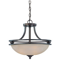 Seymour 3 Light 17 inch Oiled Bronze Semi Flush Mount Ceiling Light in Warm Faux Alabaster Glass, Convertible to Pendant