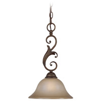 Ferentino 1 Light 10 inch Burleson Bronze Mini-Pendant Ceiling Light in Distressed Mocha Etched Glass