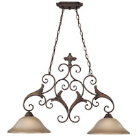 Craftmade 25542-BBZ Ferentino 2 Light 38 inch Burleson Bronze Island Light Ceiling Light in Distressed Mocha Etched Glass