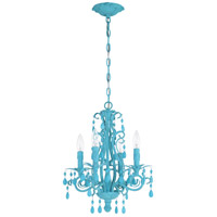 Craftmade 25614-TQ Englewood 4 Light 14 inch Turquoise Mini Chandelier Ceiling Light