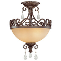 Craftmade 25622-FR Englewood 2 Light 14 inch French Roast Semi Flush Mount Ceiling Light in Light Umber Etched, Convertible to Pendant