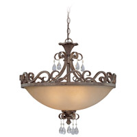Craftmade 25634-FR Englewood 4 Light 24 inch French Roast Semi-Flushmount Ceiling Light in Light Umber Etched, Convertible to Pendant