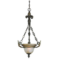 Devereaux 1 Light 15 inch Burleson Bronze Pendant Ceiling Light in Distressed Mocha Etched Glass