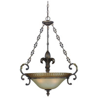 Devereaux 3 Light 26 inch Burleson Bronze Inverted Pendant Ceiling Light in Distressed Mocha Etched Glass
