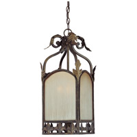 Devereaux 3 Light 17 inch Burleson Bronze Foyer Pendant Ceiling Light in Distressed Mocha Etched Glass
