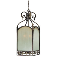 Devereaux 6 Light 20 inch Burleson Bronze Foyer Pendant Ceiling Light in Distressed Mocha Etched Glass