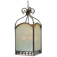 Devereaux 9 Light 27 inch Burleson Bronze Foyer Light Ceiling Light in Distressed Mocha Etched Glass