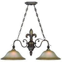 Devereaux 2 Light 39 inch Burleson Bronze Island Pendant Ceiling Light in Distressed Mocha Etched Glass