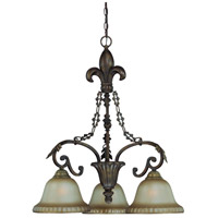 Devereaux 3 Light 27 inch Burleson Bronze Chandelier Ceiling Light in Distressed Mocha Etched Glass