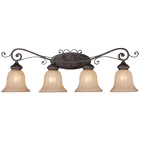 Lagrange 4 Light 34 inch Seville Iron Vanity Light Wall Light in Amber Etched