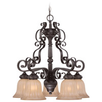 Lagrange 5 Light 24 inch Seville Iron Chandelier Ceiling Light in Amber Etched