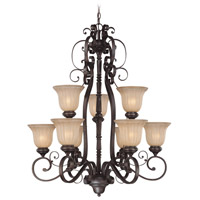 Lagrange 9 Light 33 inch Seville Iron Chandelier Ceiling Light in Amber Etched