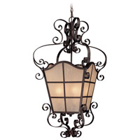 Lagrange 4 Light 23 inch Seville Iron Foyer Pendant Ceiling Light in Amber Etched
