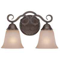 Gatewick 2 Light 15 inch Century Bronze Vanity Light Wall Light in Light Tea-Stained Glass